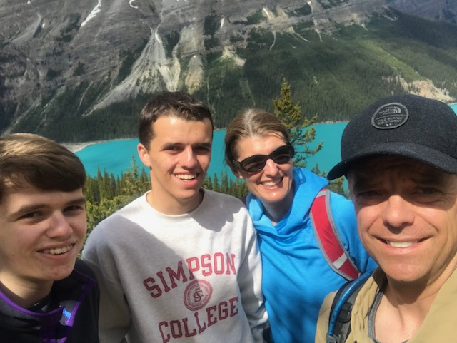 Mullins family enjoying the lake and forests of Banff National Park.